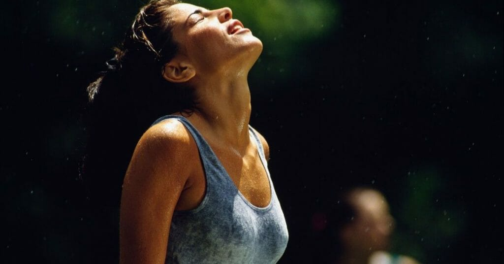 woman sweating