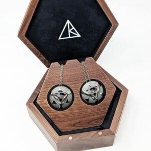 double wooden pendant display box with pendants angle