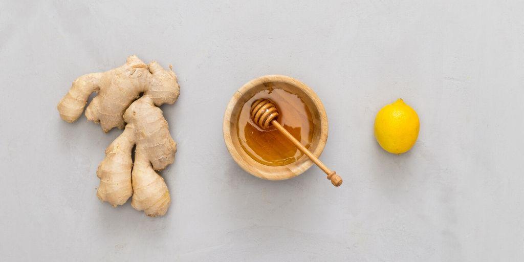 honey lemon ginger flatlay